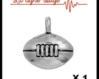 13 mm x 13mm antique silver football charm