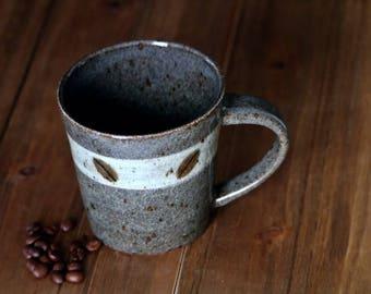 Handmade Ceramic Mug, Pottery Mug, Coffee Beans Mug, Stoneware Mug