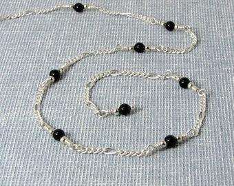 Black Onyx and Sterling Silver Chain Adjustable Anklet