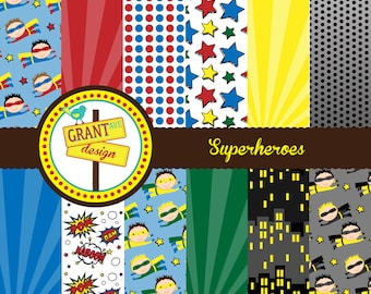 Superheroes Digital Papers - Backgrounds for Invitations, Card Design, Scrapbooking, and Web Design