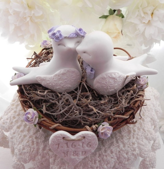 Swallowtail Love Bird Cake Topper, White and Lilac, Rustic Wedding, Personalized Heart, Bride and Groom, Keepsake