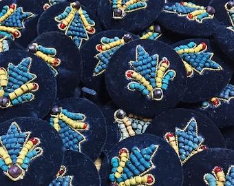 Vintage Beaded Buttons - Velvet Buttons w Wood and Glass Beads - Wooden Bead Shank Buttons - Velvet Handmade Bead Button - B 115 - 3 Buttons