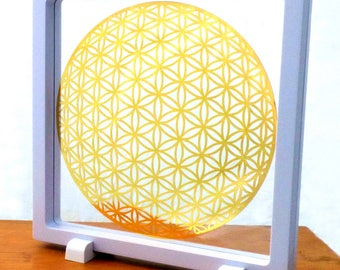 6 inch Framed Global Flower of Life 18K Gold Plated Healing Grid