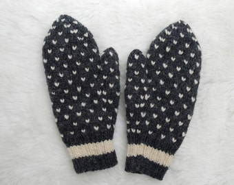 Striped Cuff Dark Grey Thrummed Mittens