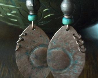 Tribal Earrings-Copper Earrings-Ethnic Earrings-Patina Earrings-Unique Earrings-OOAK Earrings-Artisan Earrings-Boho Jewelry