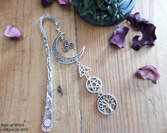 Metal bookmark with Pagan symbols | Metal Bookmark Pagan Goddess | Bookmark Mother Goddess | Lovers of Books |  Book Accessories