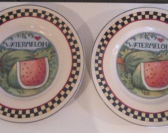 Vintage Susan Winget certifié International pastèque assiettes