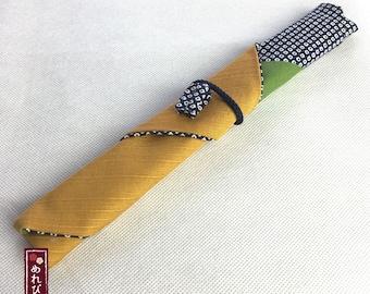 Chopstick Case Japanese style fabrics Traditional Japanese patterns  Mustard Navy Chopstick Sleeve - Free Shipping!! - CC0021-04-MN