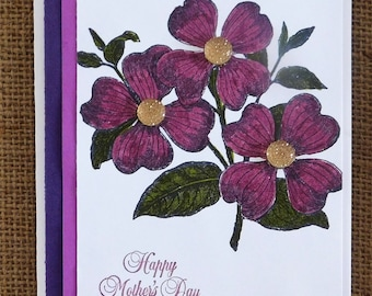Happy Mother's Day,  Homemade, Greeting Card, Floral, Embellishments. Purple.
