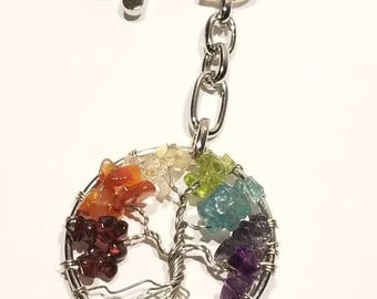 Chakra Balancing Tree of Life Keychain / Bag Clip