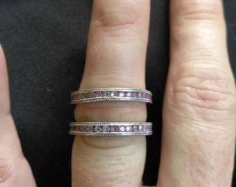 14k white gold pink Sapphire stackable band ring.