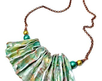 Mint Green Statement Necklace, Repurposed, Recycled, Upcycled, Fiber Art Jewelry, Mint Necklace, Artsy Necklace