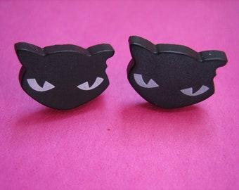 Black-EVIL KITTEN CAT Ohrstecker Ohrringe