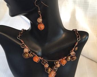 Tigerseye and Orange Jade Collar