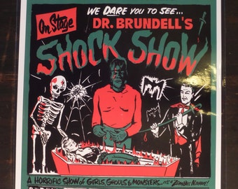 Dr. Brundell  On Stage Shock Show Event Poster Spook Spookshow Spooky Horror Magician Print / Art / Illustration/ Window Card Reproduction