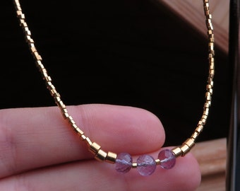 Amethyst Gold Dainty Beaded Necklace February Birthstone Jewellery