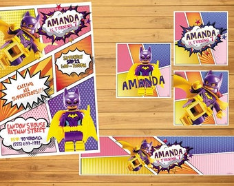 18 lego batgirl invitation also  tags label party birthday english or spanish