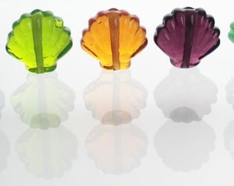 Multi Coloured Shell Lampwork Beads - Set of Five
