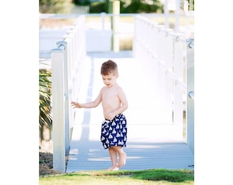 Size 4T-5T Sail Away Boys' Swim Trunks, Personalized Boys Swimwear