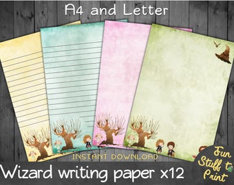 Wizard writing paper for wizards, witches and Harry Potter fans - letter paper - stationery