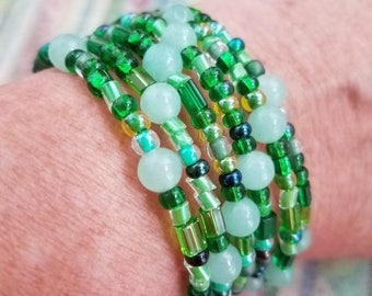 Handmade Memory Wire Bracelet with Shades of Green