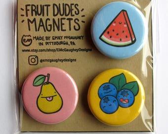 Fruit Magnets | Refrigerator Magnets | Fridge Magnets | Locker Magnets | Kitchen Artwork | Vegetarian Gifts | Vegan | Kawaii Magnets | Cute