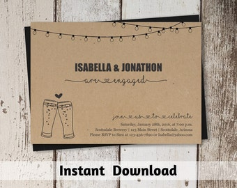 Brewery Engagement Party Invitation Printable Template - Rustic Beer Toast & Lights on Kraft Paper - Instant Download 5x7 Digital File PDF