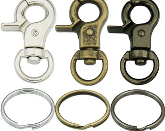 "10 Sets 32mm 1/4"" Trigger Snaps Swivel Clips 1"" 25mm Keyring Keychain Snap Hook buckles C693"