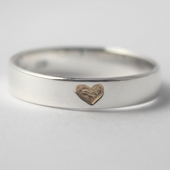 Gold Hidden Heart 925 Sterling silver Ring with tiny gold