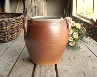 Stoneware Crock - Vintage Confit Pot - French Crock Pot - Brown Glazed Pottery - Vintage Pickles Pot - Kitchen Jar - Kitchenware Holder