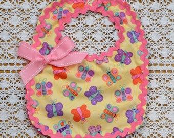 Girl's baby bib, Butterfly bib, Water-resistant bib