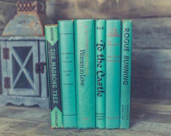 Vintage Teal Blue Books for Decoration Library Decorative Book Bundle Turquoise Aqua and Black Antique Table or Bookshelf Decor Set of 6