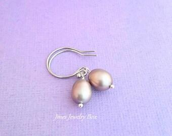 Grey freshwater pearl earrings, Silver freshwater pearl earrings, Grey pearl earrings, Silver pearl earrings