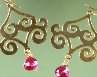 FINAL SALE * 50% off * SALE * earrings -16k gold plated - ruby pink quartz