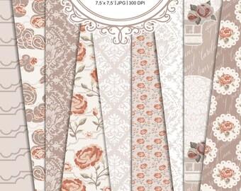 Shabby chic vintage Roses scrapbooking Paper Digital paper pack instant download rose Damask Flower Floral Retro #01