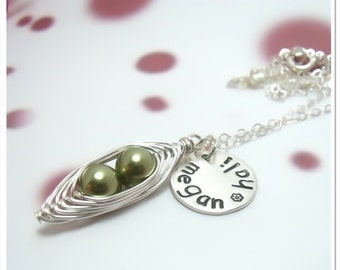 Peas in a Pod Necklace with Personalized Round Disc - Sterling Silver Wire Wrapped