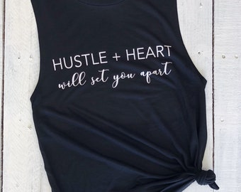 HUSTLE + HEART, muscle tank, workout, gym, motivation, fitness, inspirational