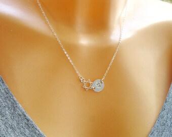 Star of David necklace, Jewish star necklace, Bat mitzvah gift, Star necklace, Initial necklace, Letter Necklace, Symbol jewelry,