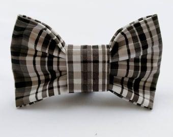 Smoky Plaid- Dog Collar Bow Tie- Pet Accessory- Pet Supplies- Smoky Grey- Black -White-Collar Attachment