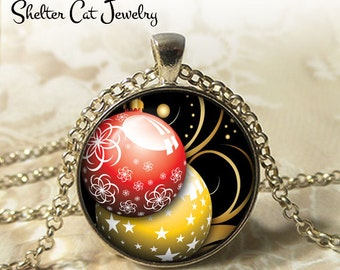 "Gold and Red Christmas Oranments Necklace - 1-1/4"" Circle Pendant or Key Ring - Merry Christmas - Photo Art Jewelry - Festive Holiday Gift"