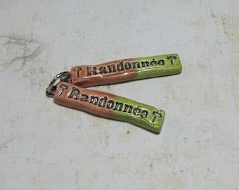 2 charms, write message - hiking - ceramic handmade green rust