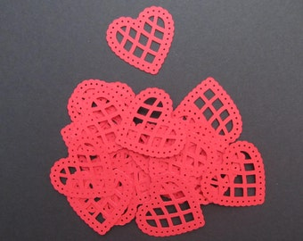 25 Bright Red Cardstock Scalloped Lace Heart Martha Stewart Diecuts, Valentines, Love, Wedding, Anniverary Embellishments, Scrapbooks, Cards