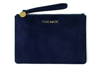 Navy Blue Suede Wristlet, Gift for her, Purse, Clutch, Clutch bag, Leather clutch, Zipper pouch, Pouch, Leather pouch, Wristlet, Handmade