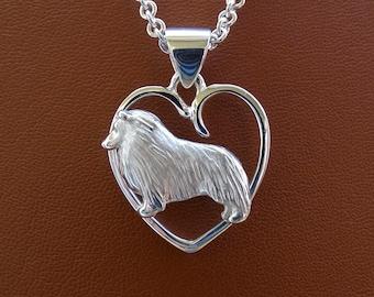 Sterling Silver Sheltie / Shetland Sheepdog Standing Study On A Heart Frame Pendant