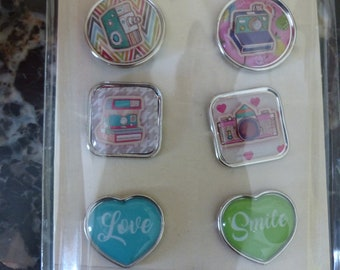Set of 9 Brads for Scrapbooking love