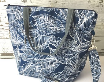 Weekender Travel Tote, Water resistant Blue Tropical palm fern print - beach, airplane travel & Overnighters, Made in the USA by Darby Mack