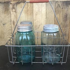 Antique wire milk bottle carrier