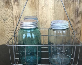 Antique wire milk bottle carrier
