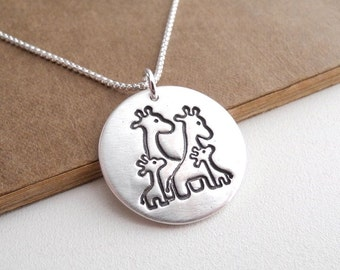 Giraffe Family Necklace, Mom, Dad, Two Babies, Two Moms, Two Dads, New Family Necklace, Fine Silver, Sterling Silver Chain, Made To Order