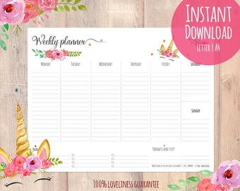 Weekly planner printable, unicorn planner, instant download, Desk Planner, printables, weekly planner page, A4 letter size